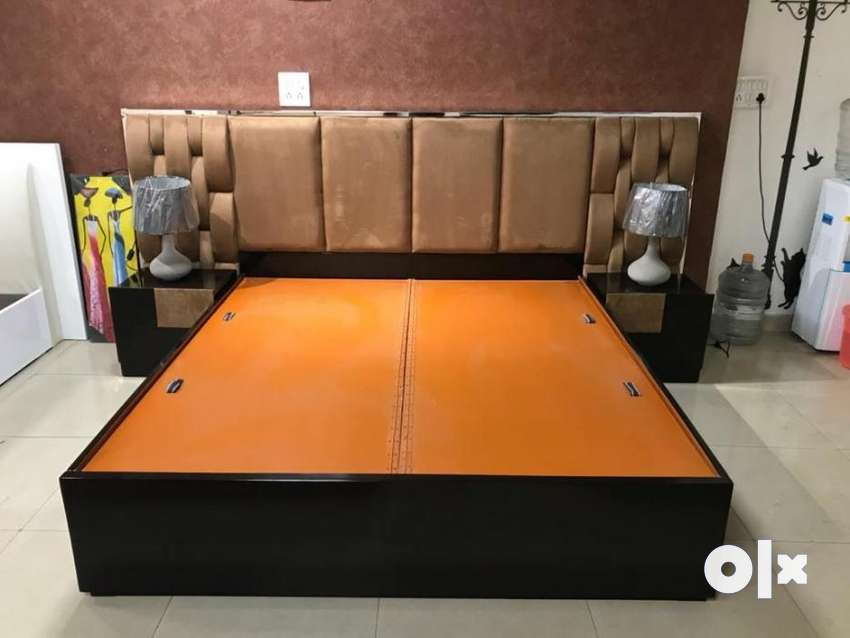 Brand new brown colour King size bed with side table & without mattres 0