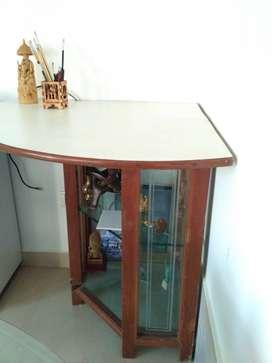 TV table shelf corner glass
