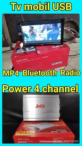 Paket sound mobil power 4 ch Free: TV mobil USB MP4 youtube grosir