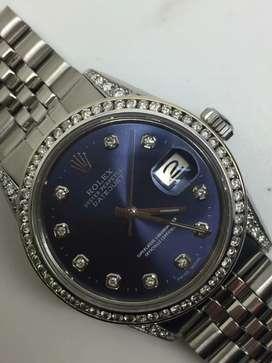 Rolex Men SS Datejust Blue Navy with diamonds