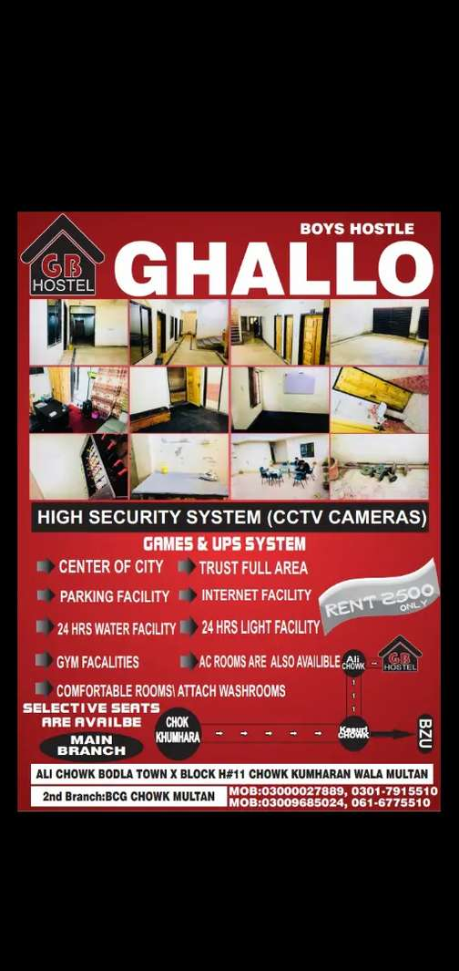 Ghallo boys hostel with well furnished rooms