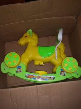 Green And Yellow Plastic Toy Horse New unused