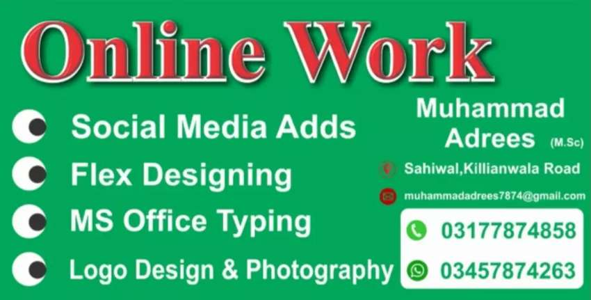 I'm graphics designer, Experts in MS Office, Typing, Photography.
