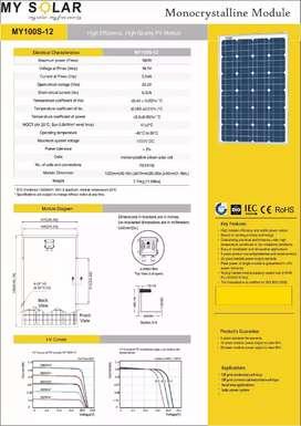 Solar Panel My Solar 100wp Bekas Normal Nego