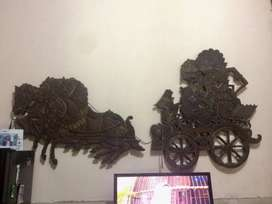 Jual Hiasan Dinding Pandawa dan Kereta Kuda (Barang Langka Kuno)