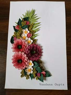 Quilling art/ flowers without glass framing.