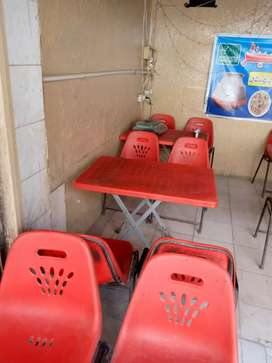 Plastic tables and chairs with iron frame