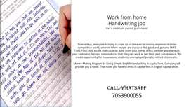 WORK FROM HOME--HANDWRITING JOB--PART TIME JOB-TYPING JOB