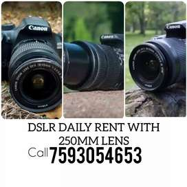 Dslr Daily Rent 15-55&55-250mm Lenss free