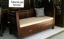 Sofa bale2 santai minimalis laci 2, P.200x80cm, bahan kayu jati tua
