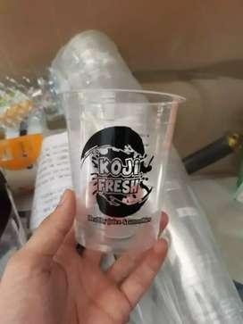 Gelas plastik di sablon terbaru CUP PP 14oz 7gram