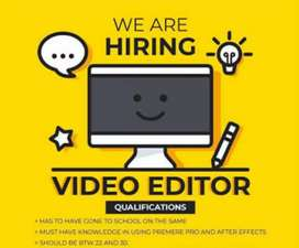 Wanted Part time professional Video Editors