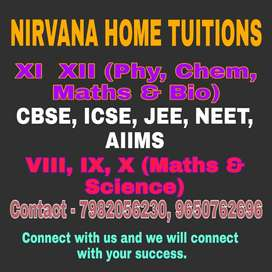 Home tutors for Class IX, X (Maths & Science) and XI PCMB and XII PCMB