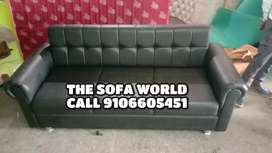 3 seater designer Black leather sofa available