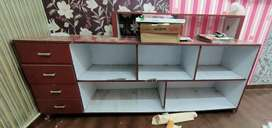 Wooden Showcase/ display rack with 4 drawers and 5 shelves