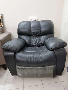 Reclining and rocking genuine leather Chair