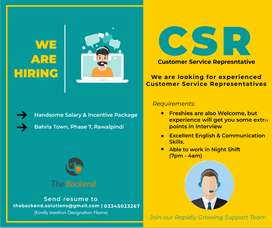 CSR Required , there is somethng good for u in the end of Description.