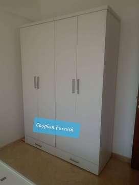 2.14 New white plain pattern 4 door wardrobe