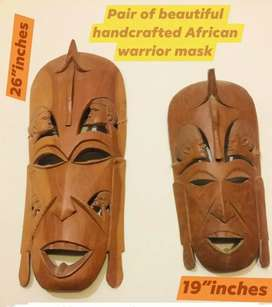Classic big size wooden African Mask pair for sale