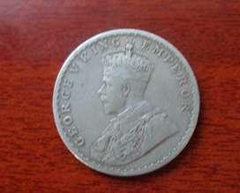 British Era Original Silver Coin George V King Emperor