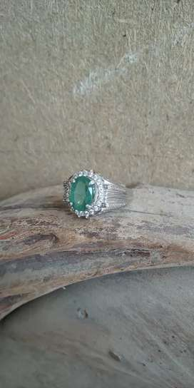Natural colambain Ermled in silver ring