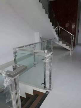 Railing tangga stainless + kaca #1617
