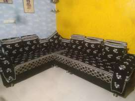3+2 Seater Sofa, Black and Grey Colour