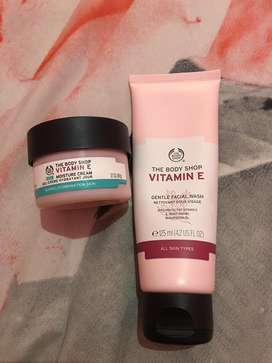 The body shop vit E facial wash and cream