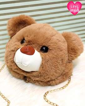 New Teddy Bear Cute Face Large Size Crossbody Bags   Cute Bags