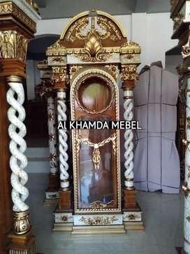 Ready lemari Jam Material Kayu Jati #58