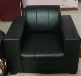 Pair of 2 single seater leather sofa