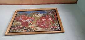 Kristik sulaman ori motif harimau bingkai kaca kayu jati belanda berat