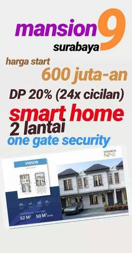 Promo cicilan DP 20% (24x) Rumah 600 juta-an Mansion 9 Surabaya