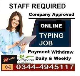 Required Hard worker  male and female for ONLINE TYPING JOB ONLINE