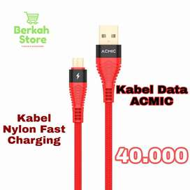 Kabel data Nylon ACMIC Gold Plated &Double Braided Fast Charging Micro