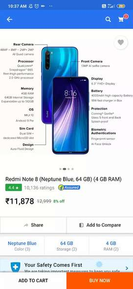 Redmi Note 8 (Neptune blue, 64 Gb) (4Gb ram)