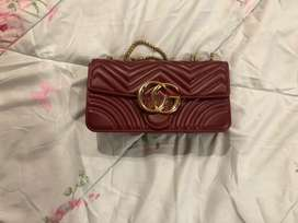 Faux GG bag maroon color