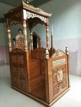Mimbar masjid mewah kubah kayu jati solid 765