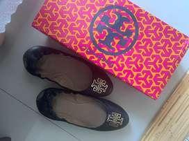tory burch original flatshoes female melinda ballet tumbled leather