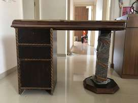 Very Heavy wood Table with Glass top