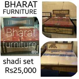 New doube bed with box//shadi furniture set Rs25000//Bharat furniture