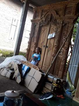 Cuci gudang pintu gebyok ukir ukuran 200 x 250 cm kayu jati asli nur
