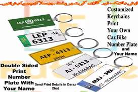 Customize Number Plate Keychain Double Side