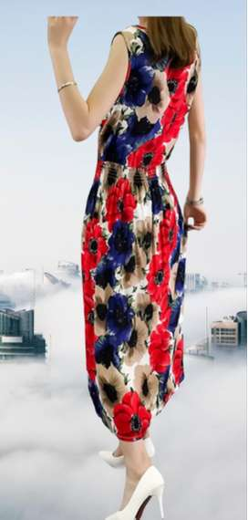 Printed Maxi Gown Dress