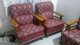 Wooden sofa set with center table