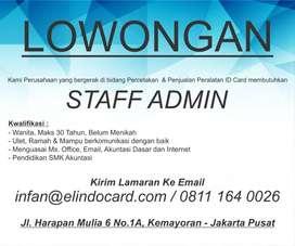 Dibutuhkan Segera Staff Admin