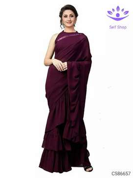 Party wear Georgette Solid Ruffle Saree's