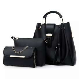 Crosshill Tas Fashion Wanita Bag in Bag 3 in 1 - 198 - Black