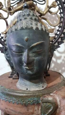 Big Boudha Head Statue Bronze Antique