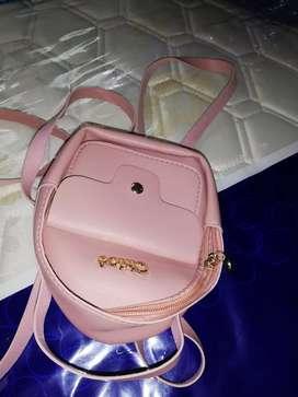 Unused PU leather small backpack
